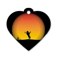 Horse Cowboy Sunset Western Riding Dog Tag Heart (one Side)