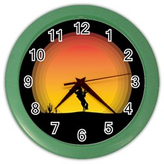 Horse Cowboy Sunset Western Riding Color Wall Clocks