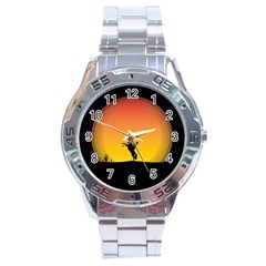 Horse Cowboy Sunset Western Riding Stainless Steel Analogue Watch