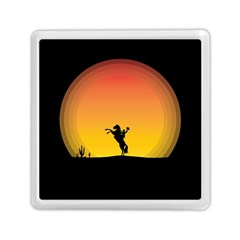 Horse Cowboy Sunset Western Riding Memory Card Reader (square)