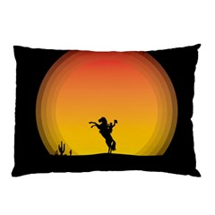 Horse Cowboy Sunset Western Riding Pillow Case (two Sides)