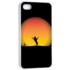 Horse Cowboy Sunset Western Riding Apple Iphone 4/4s Seamless Case (white)