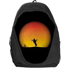 Horse Cowboy Sunset Western Riding Backpack Bag by Nexatart