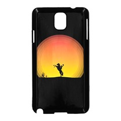 Horse Cowboy Sunset Western Riding Samsung Galaxy Note 3 Neo Hardshell Case (black)