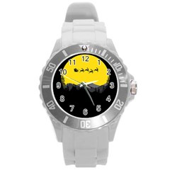 Christmas Dear Santa Claus Card Round Plastic Sport Watch (l)