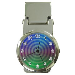 Blue Green Abstract Background Money Clip Watches by Nexatart