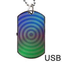 Blue Green Abstract Background Dog Tag Usb Flash (two Sides)