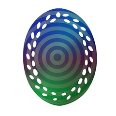 Blue Green Abstract Background Ornament (oval Filigree)