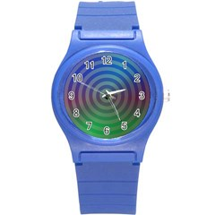 Blue Green Abstract Background Round Plastic Sport Watch (s) by Nexatart