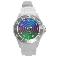 Blue Green Abstract Background Round Plastic Sport Watch (l)