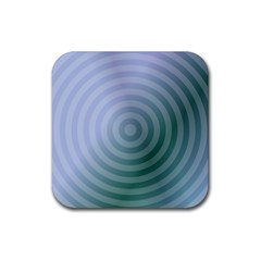 Teal Background Concentric Rubber Coaster (square)