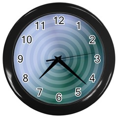 Teal Background Concentric Wall Clocks (black) by Nexatart