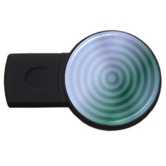 Teal Background Concentric Usb Flash Drive Round (2 Gb)