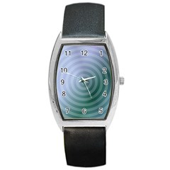 Teal Background Concentric Barrel Style Metal Watch