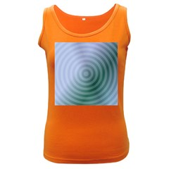 Teal Background Concentric Women s Dark Tank Top
