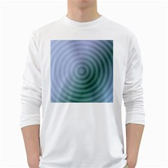 Teal Background Concentric White Long Sleeve T Shirts