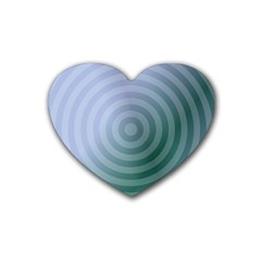 Teal Background Concentric Rubber Coaster (heart)