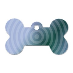 Teal Background Concentric Dog Tag Bone (one Side)