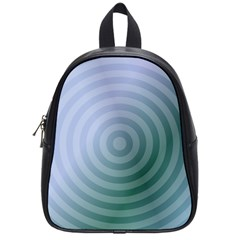 Teal Background Concentric School Bag (small) by Nexatart