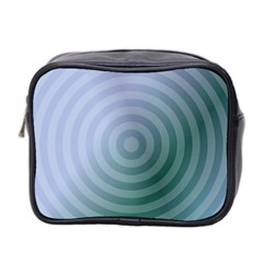 Teal Background Concentric Mini Toiletries Bag 2 Side by Nexatart