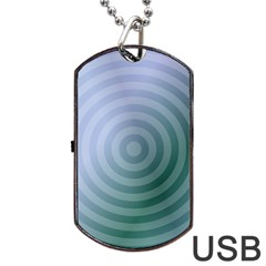 Teal Background Concentric Dog Tag Usb Flash (two Sides)