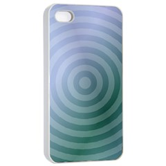 Teal Background Concentric Apple Iphone 4/4s Seamless Case (white) by Nexatart