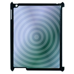 Teal Background Concentric Apple Ipad 2 Case (black) by Nexatart