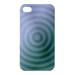 Teal Background Concentric Apple Iphone 4/4s Premium Hardshell Case by Nexatart