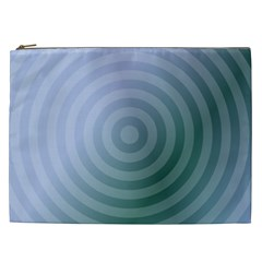 Teal Background Concentric Cosmetic Bag (xxl)  by Nexatart