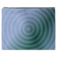 Teal Background Concentric Cosmetic Bag (xxxl)  by Nexatart