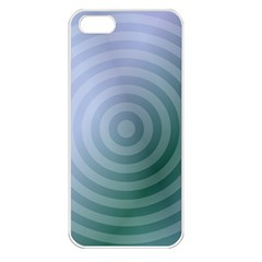 Teal Background Concentric Apple Iphone 5 Seamless Case (white) by Nexatart