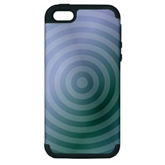 Teal Background Concentric Apple Iphone 5 Hardshell Case (pc+silicone)