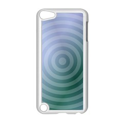 Teal Background Concentric Apple Ipod Touch 5 Case (white) by Nexatart