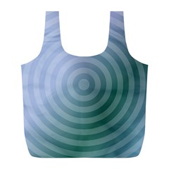 Teal Background Concentric Full Print Recycle Bags (l)  by Nexatart