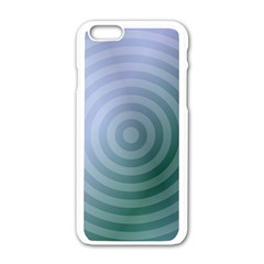 Teal Background Concentric Apple Iphone 6/6s White Enamel Case