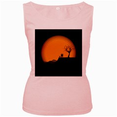 Couple Dog View Clouds Tree Cliff Women s Pink Tank Top