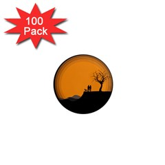 Couple Dog View Clouds Tree Cliff 1  Mini Magnets (100 Pack)
