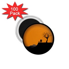 Couple Dog View Clouds Tree Cliff 1 75  Magnets (100 Pack)