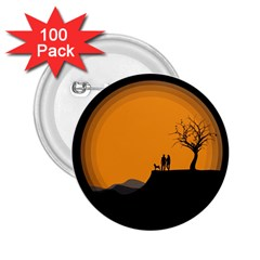 Couple Dog View Clouds Tree Cliff 2 25  Buttons (100 Pack)