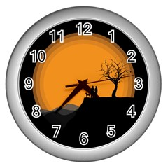 Couple Dog View Clouds Tree Cliff Wall Clocks (silver)