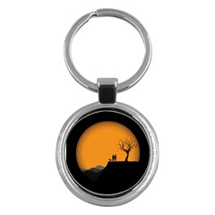Couple Dog View Clouds Tree Cliff Key Chains (round)