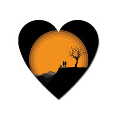 Couple Dog View Clouds Tree Cliff Heart Magnet