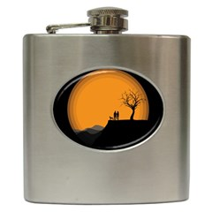 Couple Dog View Clouds Tree Cliff Hip Flask (6 Oz)