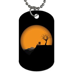 Couple Dog View Clouds Tree Cliff Dog Tag (two Sides)