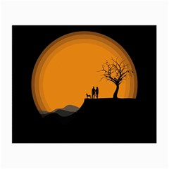 Couple Dog View Clouds Tree Cliff Small Glasses Cloth