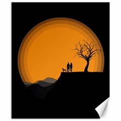 Couple Dog View Clouds Tree Cliff Canvas 8  X 10