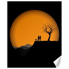 Couple Dog View Clouds Tree Cliff Canvas 16  X 20   by Nexatart