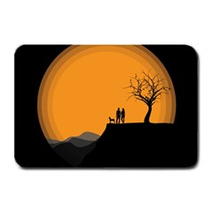 Couple Dog View Clouds Tree Cliff Plate Mats