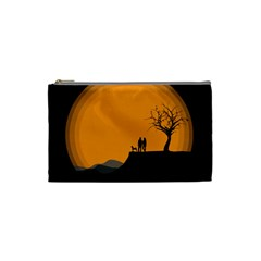 Couple Dog View Clouds Tree Cliff Cosmetic Bag (small)