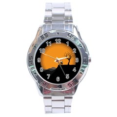 Couple Dog View Clouds Tree Cliff Stainless Steel Analogue Watch